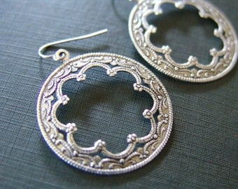 Filigree and Flower Silver Medallion Earrings