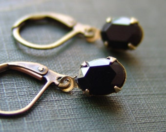Oval Black Glass Rhinestone Earrings