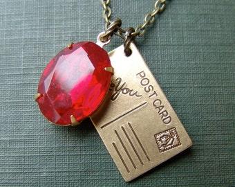 Postcard and Rhinestone Necklace