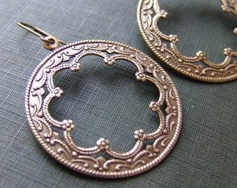 Filigree and Flower Brass Medallion Earrings