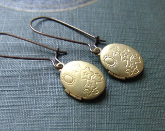Flower and Leaves Locket Earrings