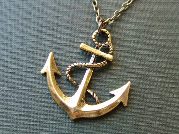 Anchor Long Necklace in Brass