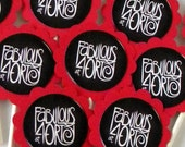 40th Birthday Cupcake Toppers - Fabulous at 40, Red and Black, Set of 12