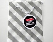 Favor Bags, Striped, Gray and White, Little Bitty, Set of 25, 2 3/4 by 4 inches, Stripes, Grey