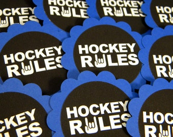 Hockey Rules Cupcake Toppers - Set of 12, Black, Blue