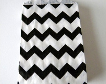 Favor Bags, Chevron, Black and White, Little Bitty, Set of 25, 2 3/4 by 4 inches