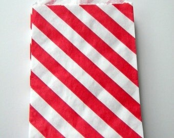 Favor Bags, Striped, Red and White, Little Bitty, 2 3/4 by 4 inches, Stripes, Set of 25