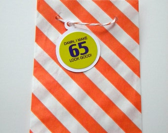 Party Favor Bags, Striped, Orange and White, Little Bitty, Set of 25, 2 3/4 by 4 inches, Stripes