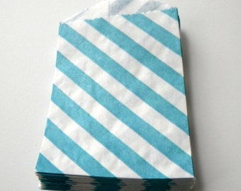 Party Favor Bags, Striped, Blue and White, Little Bitty, Set of 25, 2 3/4 by 4 inches, Stripes