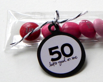 50th Birthday Party Favors, Candy Treat Bags - 50 Looks Good on Me, Set of 12, Pink, Black