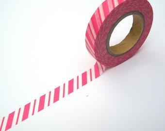 Pink Striped Japanese Washi,  Masking Tape, Gift, Scrapaholic Collection