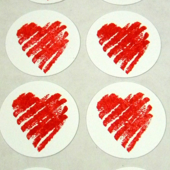 Sweet Heart Valentine Stickers - A set of 16 1 Inch Round, Red, Love