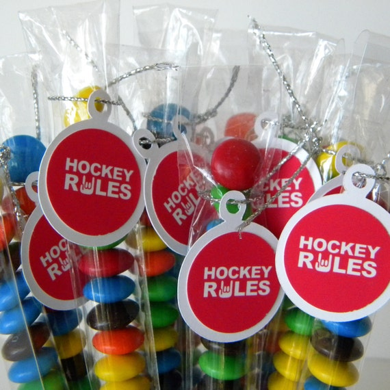 Hockey Candy Favor Treat Bags Set Of 12 Red White