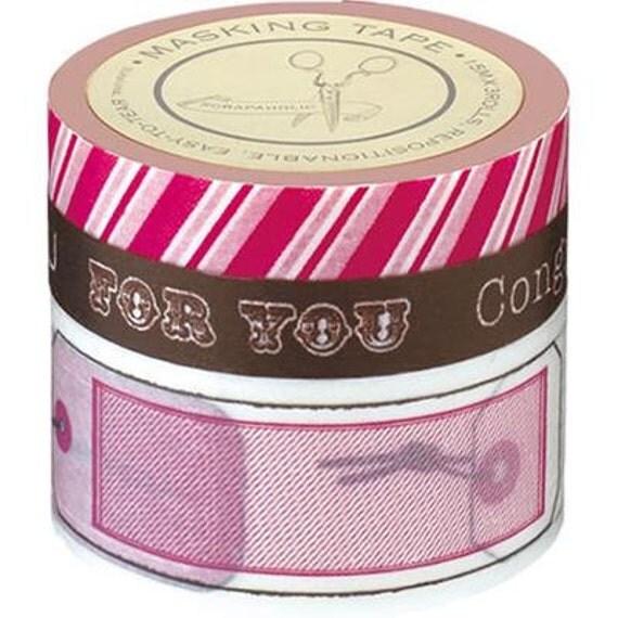 Washi Tape, Japanese Masking, Gift, Scrapaholic, Pink, Brown, Set of 3