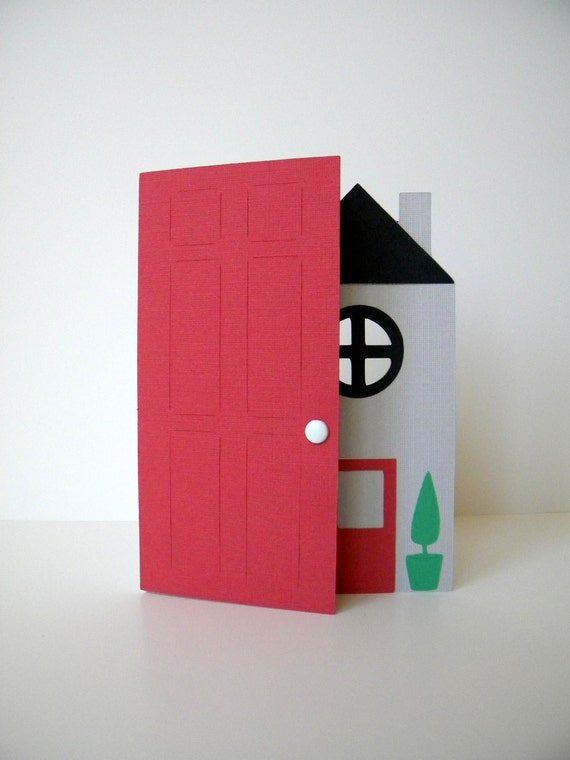 New Home Card, House Warming, Gray, Red, Black