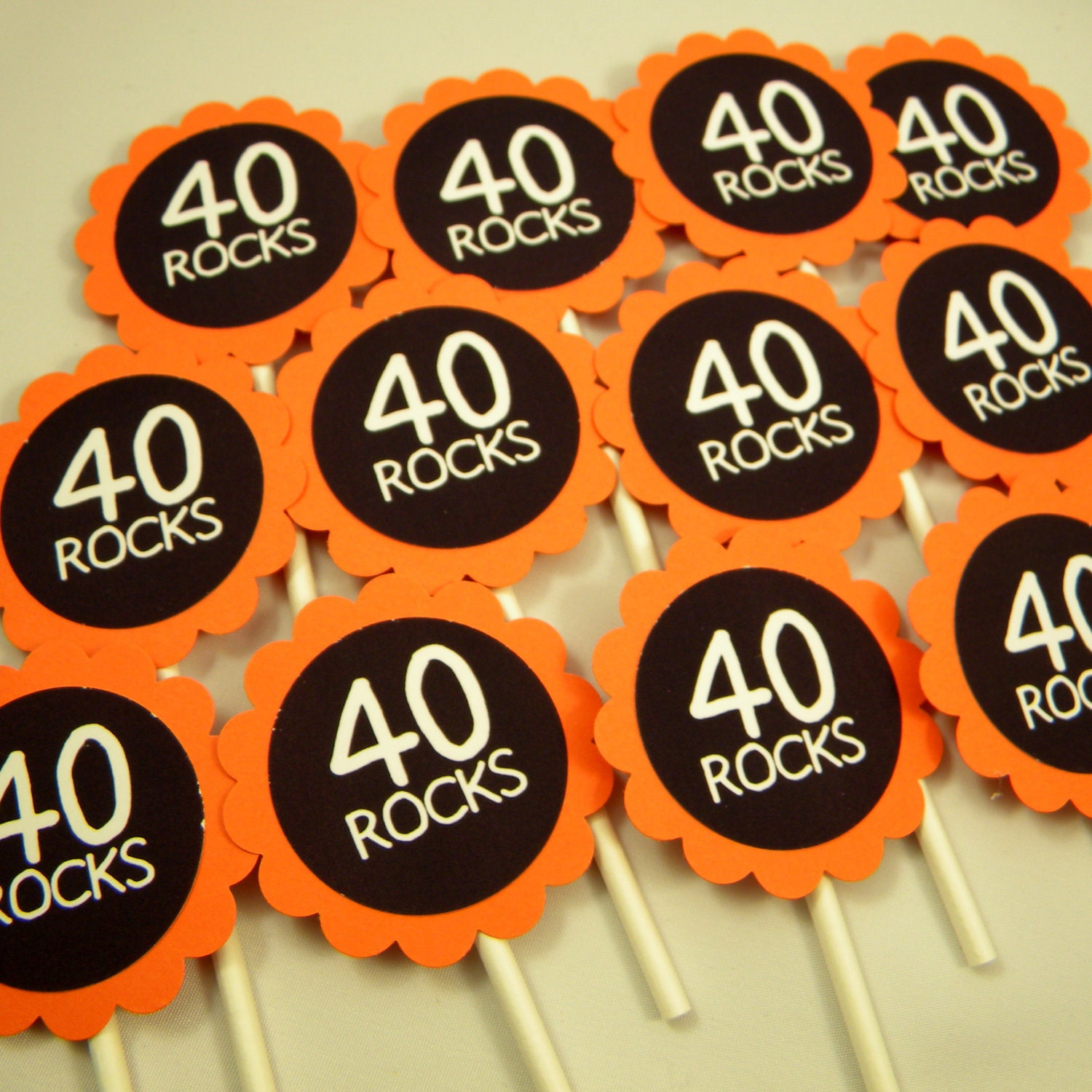 40th Birthday Cupcake Toppers 40 Rocks Set of 12
