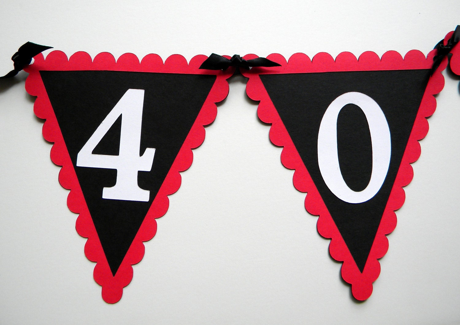 40th birthday pennant banner 40 rocks red black white or