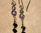 elegant black crystal earrings