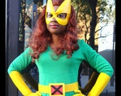 Superhero mask - Honor leather mask in yellow - made to order -Marvel Girl cosplay