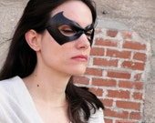 Superhero mask - Nightwing cosplay - black leather mask -  Justice - Made to Order