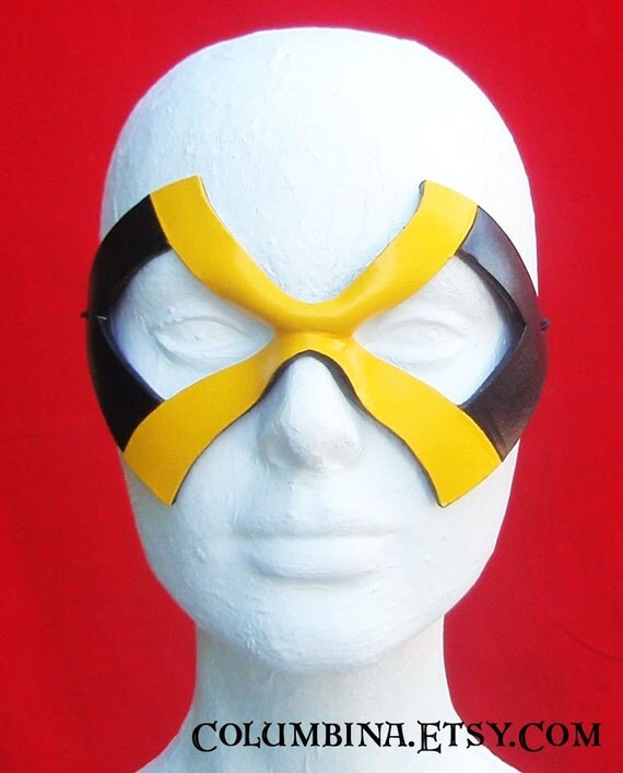 eXcite- black and yellow leather comic hero/villain mask - Halloween masquerade cosplay costume
