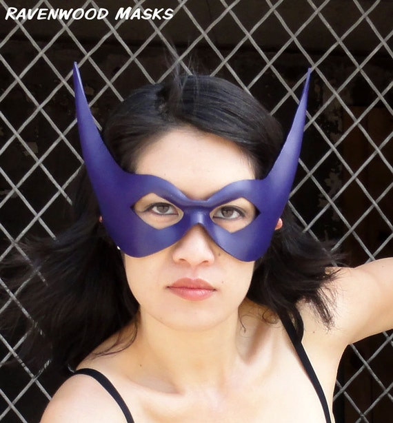 Purple superhero costume, leather mask - Striker - Made to Order