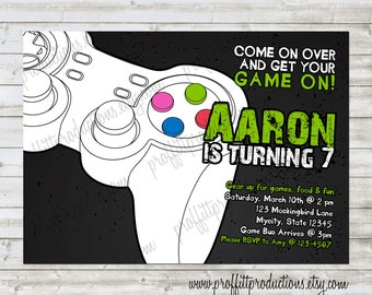 Game On gamer or gaming custom birthday party invitation - digital file