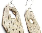 Birch bark earrings, Woodpecker Holes with gold