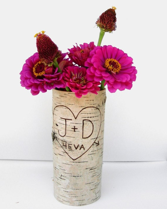 One large birch bark vase with free engraving, Natural