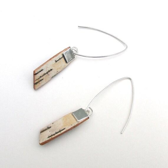 Small birch bark earrings, Slopes I