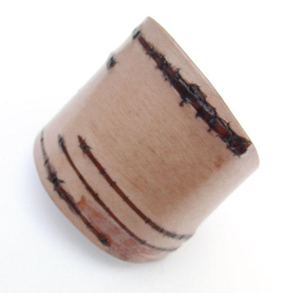 Large width birch bark cuff bracelet, Wheaton II