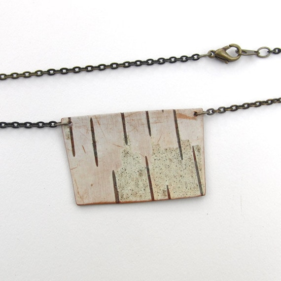 Square birch bark necklace, Panel