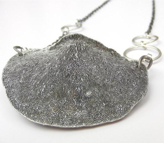 Silver mushroom necklace, Silver Ombre