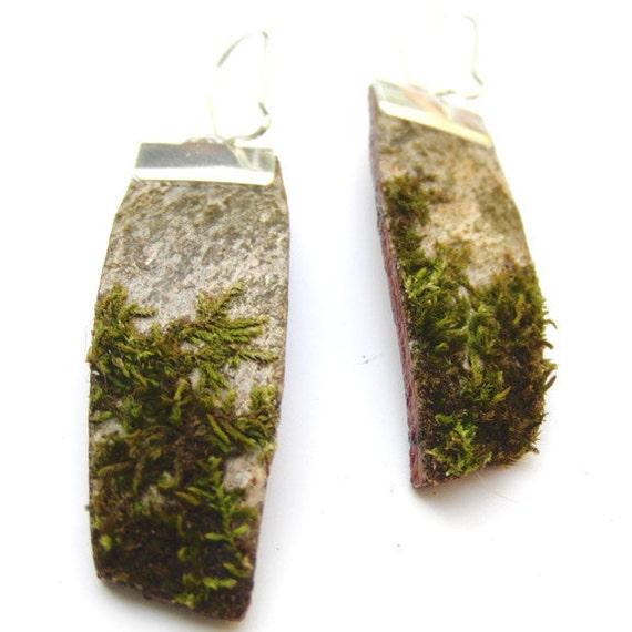Moss birch bark earrings, Mo 7