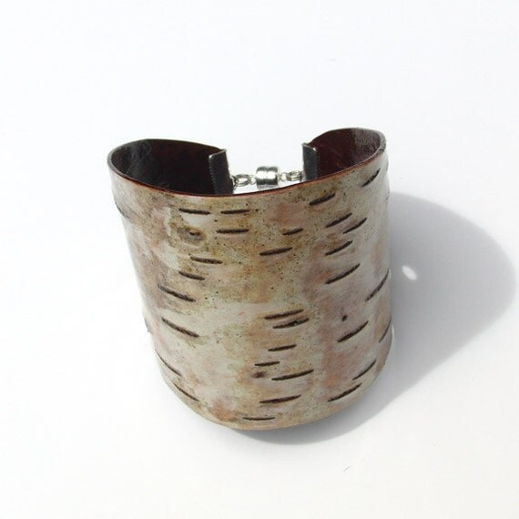 Birch bark cuff bracelet, Dash