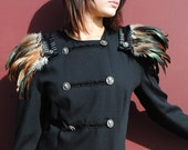 Black dress military style feather epaulets skull buttons steampunk all wool upcycled unique