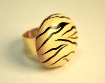 Tiger statement ring adjustable 24K gold base made from vintage jewelry