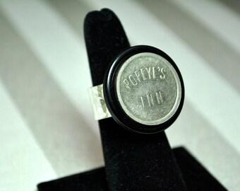 Round statement ring vintage bar token Popeyes Inn silver plated ring base steampunk my unique design
