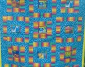 Reserved for myfairybaby SALE The Blue Jungle baby quilt