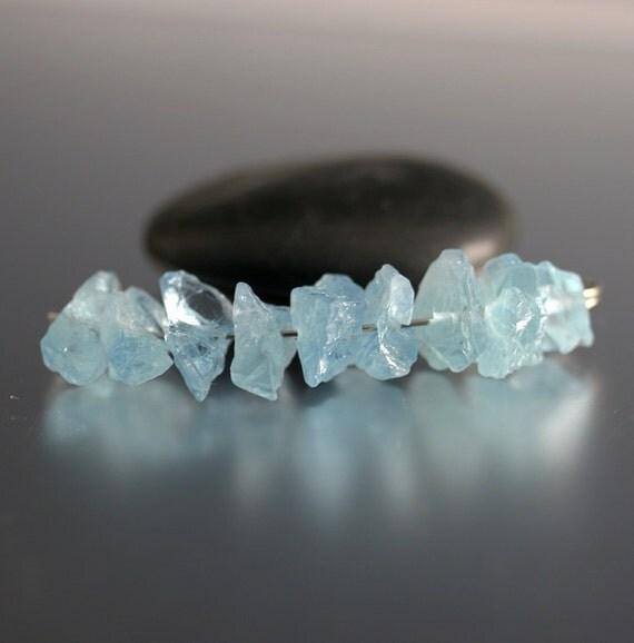 9 Rough Aquamarine Shard Beads