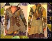 Fae Patchwork Fleece Jacket or Top . Shibori & LWI Hand Dyed Bamboo Organic Cotton . Original Design Goddess Wear Sm - Med
