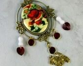 Vintage Resin Santa Cameo, Ruby Red Swarovski Crystal, Quartz Bones and Gold OOAK Scottie Brooch Pin - P-13s