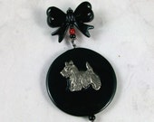 Classical Black OOAK Scottie Dog Brooch Pin - P-58s