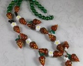 Strawberry Shortcake Lampwork and Porcelain OOAK Scottie Necklace and Earrings Set - 321s