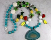 Tropicana Lampwork Glass, Glazed Ceramic, Quartz and Agate OOAK Scottie Necklace and Earring Set - 325ss