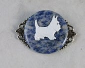 West Highland White Terrier - Enamel, Sodalite Stone and Silver OOAK Westie Brooch Pin - P-96s