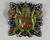 Medieval Enameled Bronze Coat of Arms OOAK Scottie Brooch Pin - P-115s
