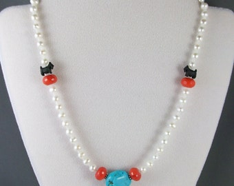 White Fresh Water Pearls, Sleeping Beauty Turquoise and Geranium Red Quartz OOAK Scottie Necklace - 292s