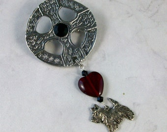 Silver Celtic Cross with Red and Black Crystal OOAK Scottie Brooch Pin - P-20s