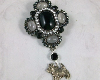Large Victorian Black, Gray and Silver Marcasite, Rhinestone and Jewel OOAK Scottie Brooch Pin - P-50s